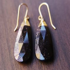 Midnight Goldstone Sparkle Earrings. $79.00, via Etsy.