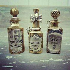 "Halloween Apothecary Potions ""Essence Of Dreams, Wish Tonic, & Love Elixir"" Potion Bottle, Bottle Art, Bottle Charms, Bottle Necklace, Necklace Charm, Photographie Post Mortem, Bottles And Jars, Perfume Bottles, Magic Bottles"