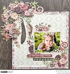 "July Blog Challenge! Thursday 5th July - Kaisercraft Official Blog Inspirarion by Design Team member Kylie Kingham with her Layout ""Let your Light Shine"" featuring July 2018 ""Gypsy Rose"" Collection & using SS367 Sticker Sheet & PP1048 Paper Pad & CT941 Collectables and DD818 Floral Dream Catcher Decorative Die. Learn more at kaisercraft.com.au ~ Wendy Schultz ~ Kaisercraft Projects."