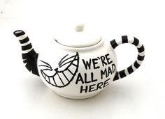 Alice in Wonderland Teapot We're All Mad Here that you can make at The Painted Turtle Pottery Studio Pottery Painting, Ceramic Painting, Painted Pottery, Painted Plates, We All Mad Here, Alice In Wonderland Teapot, Soirée Halloween, Color Me Mine, Chesire Cat