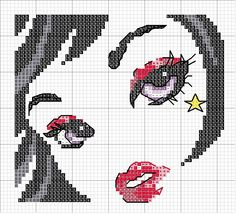 0 point de croix portrait fille - cross stitch portrait girl