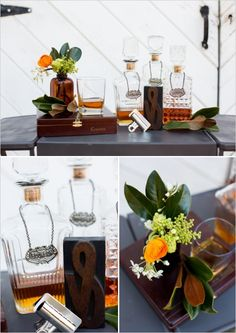 Cute whiskey bar ideas. #weddingchicks Captured By: Lightbox Photography http://www.weddingchicks.com/2014/06/20/funky-braided-wedding/