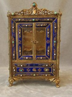 Miniature French Vitrine Cabinet Vtg Fancy Gilt Sterling Silver Jeweled Enamel | eBay