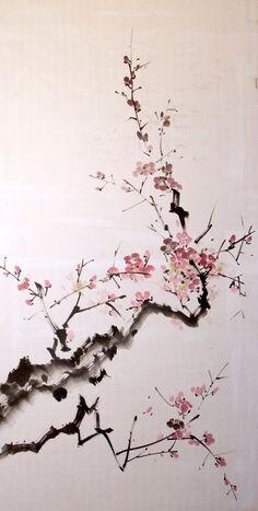 Sumi-e plum by bsshka on DeviantArt Cherry Blossom Drawing, Cherry Blossom Wallpaper, Cherry Blossom Watercolor, Japanese Watercolor, Japanese Painting, Japanese Blossom, Japanese Tree, Japanese Flowers, Chinese Cherry Blossom