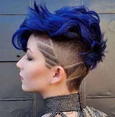 Image result for blue pixie cut