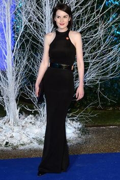 Winter Whites Gala in Aid of Centrepoint, Kensington Palace, London – November 26 2013:  Michelle Dockery wore a gown by Stella McCartney with De Beers jewellery.