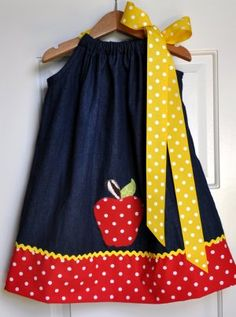 First day of school cuteness. I'd love to make dresses like this for my girls! #clothing