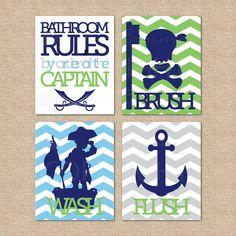 Option 2 Pirate SALE - Pirate Bathroom Rules...by order of the Captain...Wash, Brush, Flush // 4 Print Set // Kids Bathroom Giclée Art Prints, 8x10. $55.00, via Etsy.