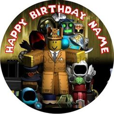 Roblox Personalised Edible Birthday Party Cake Decoration Topper Round Image
