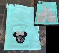 Disney Minnie Mouse monogram initials heat transfer vinyl on shirt.