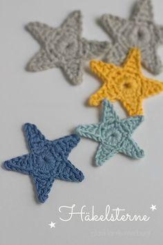 glasklar & kunterbunt: Creadienstag - Anleitung für Häkelsterne free pattern for crochet stars in Gerrman - see http://glasklarundkunterbunt.blogspot.de/2013/11/hakelsterne-tutorial.html