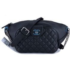 Pre-Owned NWT 16S Chanel Black Calfskin Quilted Classic Fanny Pack Bag ($3,499) ❤ liked on Polyvore featuring bags, black, bum bag, chain strap bag, belt bag, waist fanny pack and fanny pack bag