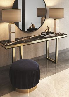 Living Room Ideas With Modern Console Tables - Interior design - Console Table Home Interior, Luxury Interior, Luxury Furniture, Furniture Design, Interior Design, Console Furniture, Furniture Ideas, Modern Furniture, Marble Furniture