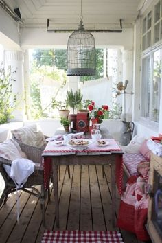 pretty porch, bird cage, red and white, cottage, country, farm house