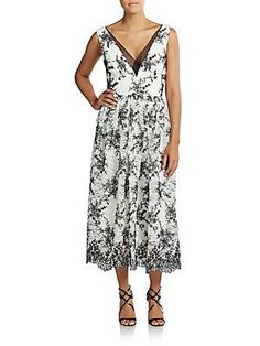 Vera Wang Two-Tone Embroidered Lace Dress - Ivory - Black - Size