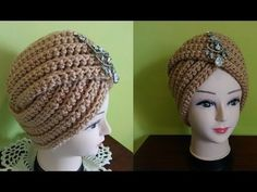 Un Turban vintage au crochet ou au tricotHow to Crochet Beanie Hat With Leaves Tutorial 146 Turban Crochet, Bonnet Crochet, Crochet Beanie Hat, Crochet Cap, Knitted Hats, Turban Headband Tutorial, Turban Headbands, Sombrero A Crochet, Front Post Double Crochet