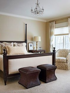 The dark chocolate accents work nicely with the creamy lightness in the rest of the bedroom. More bedroom color inspiration here: http://www.bhg.com/rooms/bedroom/color-scheme/neutral-colored-bedrooms/?socsrc=bhgpin061214neutralsgonetraditionalpage=2