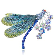 Women's Austrian Crystal Enamel Colorful Bouquet Insect Dragonfly Brooch - Blue Silver-Tone - C911IJBONUH - Brooches & Pins  #jewellrix #Brooches #Pins #jewelry #fashionstyle