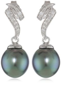 10k White Gold Diamond and Black Tahitian Cultured Pearl Drop Earrings (.12 cttw, G-H Color, I2