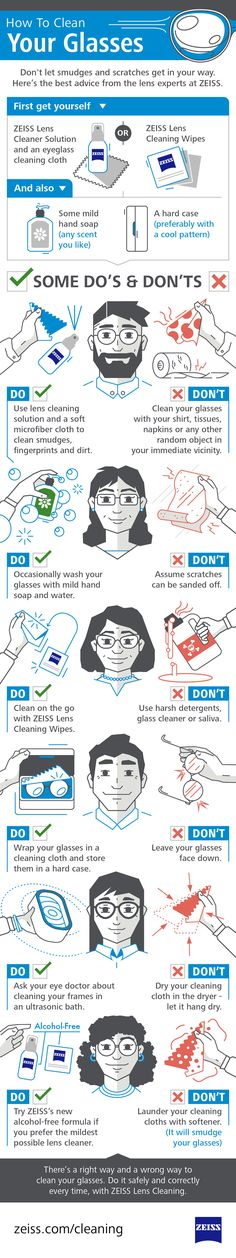 There's a right way and a wrong way to clean your glasses. Do you know the difference? Here's the best advice from the lens experts at ZEISS. #ZEISS #infographic #ZEISSlenses #ZEISSlenswipes #ZEISSlenscleaner #alcoholfree #eyeglasses #eyeglasslenses #lenses #eyewear #howto #cleaning #lenscare