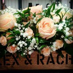 Peach Avalanche Rose wooden trug
