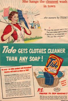"""""""She hangs the cleanest wash in town."""" (Organized Clutter: Vintage Woman's Day Ads)"""