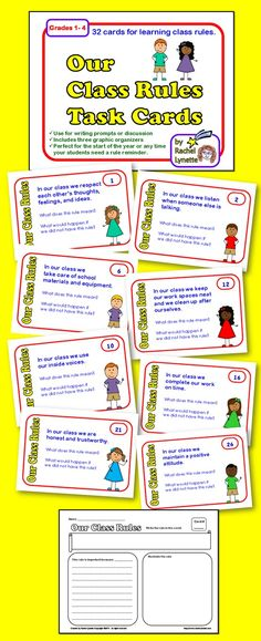 32 Task Cards to helps students internalize classroom rules and practices. There are also 3 different graphic organizers that can be used with the cards. Great for the start of the year or review. $