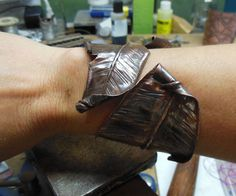 Feather Cuff Hammered Copper Feather Bracelet Wrap by Centsations, $119.00