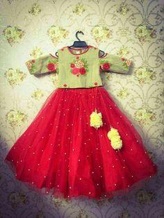 71 red silk lehenga with flower applique and sequin sleeves 56 Kids Indian Wear, Kids Ethnic Wear, Little Girl Dresses, Girls Dresses, Designer Childrenswear, Kids Frocks Design, Designer Kids Clothes, Designer Dresses, Kids Lehenga