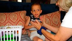 Make Your Own Sticky Box! Collect sticky and gooey toys and throw them all in one box. You'll create a sensory toy that will help your child learn to have fun with sticky things and combat tactile defensiveness. *pinned by wonderbaby.org Image Description: Ivan playing with his sticky box!