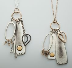 The Quatre Charm Necklace from Looka Jewelry's Leaf & Bud Collection by Liz Ryan. Love the collage-ey look!