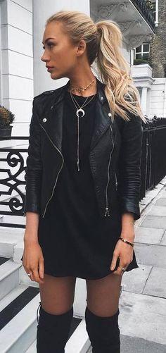 black on black | biker jacket + little dress + over the knee boots
