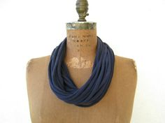 Upcycled T Shirt Necklace / Navy Blue / Women / Girls / by ohzie