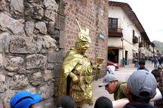 The gold man in Cuzco, Peru