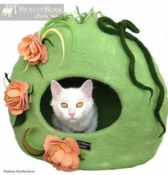Cat bed - cat cave - cat house - eco-friendly handmade felted wool cat bed-Flower Paradise -100% wool-for cats - for kittens