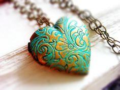 Patina Heart Locket Necklace Floral Locket by LaDivineBijoux, $30.00