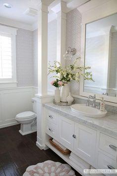Bathroom Decor spa Powder Bathroom Summer Decor (Sunny Side Up) Zen Bathroom, Small Bathroom, Master Bathroom, Bathroom Ideas, Remodled Bathrooms, Bath Ideas, White Bathroom Decor, Master Master, Bathroom Mirrors