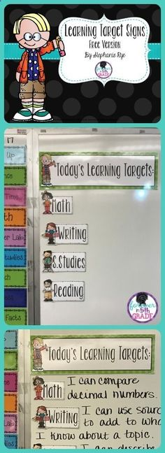 Free or editable learning targets! Read about making a learning target section of your board at Forever in Fifth Grade!http://foreverinfifthgrade.blogspot.com/2017/02/show-tell-tuesday-february.html