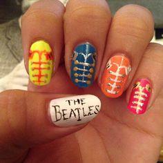 The Beatles Nails yellow submarine Beatles Art, The Beatles, Hair And Nails, My Nails, Beatles Tattoos, Band Nails, Music Nails, The Fab Four, Nails Inc