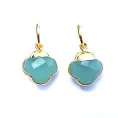 Green Chalcedony Quatrefoil Earrings | Available only at Peyton William. www.peytonwilliam.com