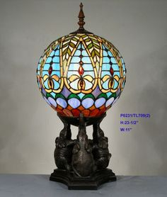 TIFFANY STAINED GLASS BLUE LEADLIGHT ELEPHANT BALL LAMP