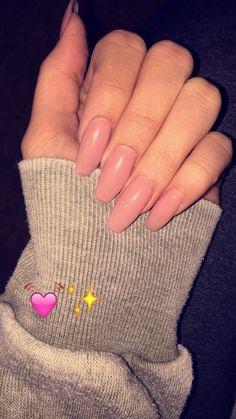 Baby pink, Coffin nails, Pink, acrylic nails, Claws, Long nails, Pastel pink, Nude nails