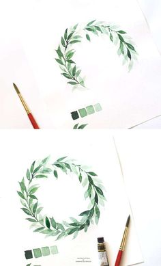 Leafy Watercolor Wreath Tutorial- Leafy Watercolor Wreath Tutorial Learn to paint two quick and easy ways a watercolor leaf wreath from this step by step tutorial – Inkstruck Studio for Dawn Nicole designs - Wreath Watercolor, Watercolor Leaves, Watercolor Drawing, Watercolor Illustration, Painting & Drawing, Painting Tools, Watercolor Ideas, Watercolor Landscape, Watercolor Animals