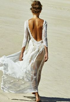 I love the back to this!!!  Lace Back Open Maxi For Beach