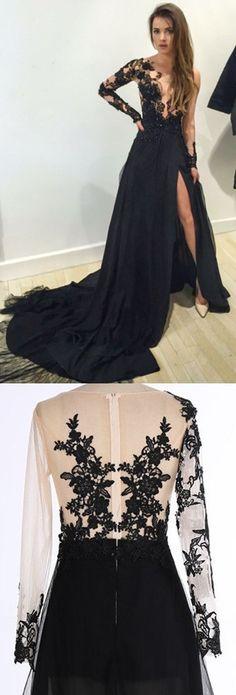 Black Prom Dresses, Long Prom Dresses,Mermaid Prom Dress,Black V-Neck Chiffon Sweep Train Evening Dress with Appliques