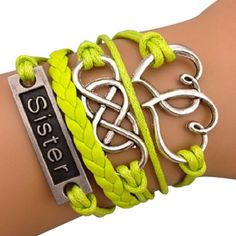 Lime Green Sisters Forever Arm Party Bracelet  #streetstyle #sister