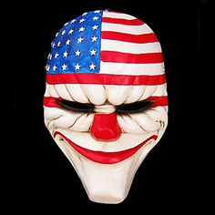 Payday 2 Mask Resin The Heist Dallas/Wolf/Chains/Hoxton cosplay halloween horror clown masquerade cosplay Carnaval Costume men Scary Clown Costume, Scary Clown Mask, Joker Costume, Scary Clowns, Joker Clown, Horror Costume, Joker Cosplay, Creepy, Clown Horror