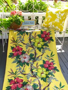Orig.Off the Bolt BY THE YARD South Beach Hibiscus NVR USD VTG Barkcloth Fabric