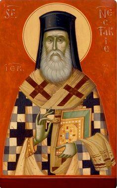 Nektarios by Gabriel Toma Chituc Byzantine Icons, Orthodox Icons, Gabriel, Greece, Religion, A5, Painting, Santos, Archangel Gabriel