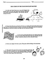 The Story of the ''Star-Spangled Banner'' Printable (3rd - 6th Grade) - TeacherVision.com | War of 1812 Click on FREEprintable to view.